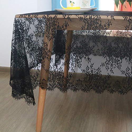 ETIAL Mantel de encaje negro de 60 x 120 pulgadas de camino de mesa superpuesto con elegantes patrones florales para baby showers, bodas, fiestas