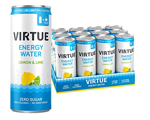 VIRTUE Energy Water - Healthy Energy Drink - Zero Sugar, Zero Calories (Lemon & Lime, 12 pack)
