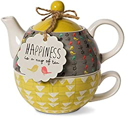 Pavilion Gift Company Bloom Happiness Ceramic Tea