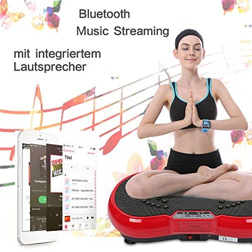Flyelf Plateforme Vibrante, Multi-Function avec Bluetooth et USB,9 Modes Préprogrammés et Réglage Manuel des 99 Niveaux de Fréquence, pour Bureau Amincissant (Noir-Rouge)