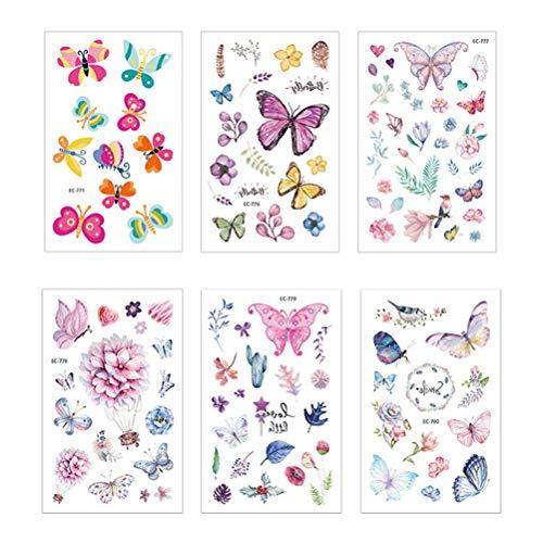 Toyvian Farfalla Tatuaggi Temporanei Impermeabile Tatuaggi per Bambini Adesivi Lovely Cartoon Tatuaggi Adesivi per Il Corpo 6 Fogli