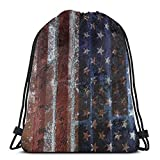 BXBX Plegable Drawstring Backpack Bag Sport Gym Sackpack Cinch Bag for School Yoga Gym Swimming Travel Unisex - Grunge Us Flag Texture