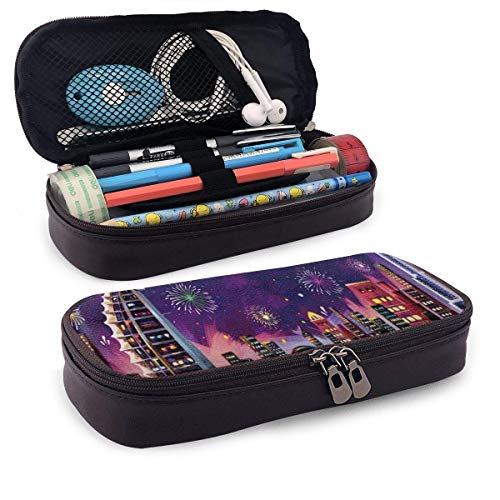 Illustration of Eid Celebration PU Leather Pencil Pen Case Pouch Bag with Zipper School Supplies for Student Coin Purse Cosmetic Makeup Bag