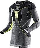 X-Bionic Apani Merino By UW LG-SL Roundneck, Maglia Intima Termica Uomo, Nero/Grigio/Giallo, XXL