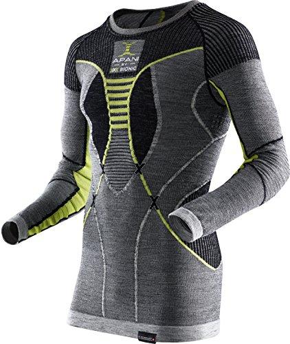 X-Bionic Apani Merino by UW LG-SL Roundneck, sous-vêtement Thermique pour Homme, Noir/Gris/Jaune, XXL