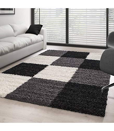 Carpettex Teppich Shaggy, Pelo Largo Salón Shaggy Alfombra a Cuadros Negro Blanco Gris - 160x230 cm