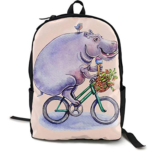 XCNGG NiYoung Casual Large College School Daypack - Laptop Outdoor Backpack Hippopotamus On Bike Style Backpack