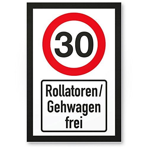 DankeDir! 30 Jahre Rollatoren/Gehwagen frei, Kunststoff Schild - Geschenk 30. Geburtstag, Geschenkidee Geburtstagsgeschenk Dreißigsten, Geburtstagsdeko/Partydeko/Party Zubehör/Geburtstagskarte