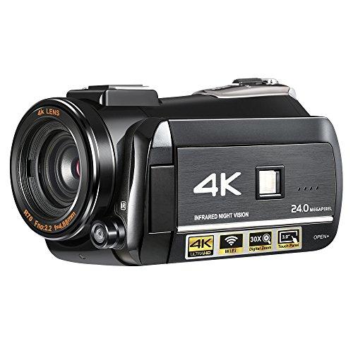 Winait UHD 4k Wifi Digital-Videokamera mit 7,6 cm (3 Zoll) Touch-Bildschirm, Nachtsicht, Mini DV
