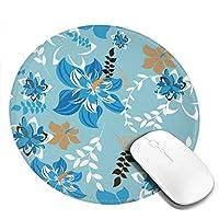 青い花と葉 花柄 丸型 マウスパッド ゲーミングマウスパッド パソコン 周辺機器 光学式マウス対応 オフィス自宅兼用 防水 洗える 滑り止め 高級感 耐久性が良い 20*20cm