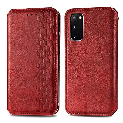 Trugox Funda Cartera para Samsung S20 5G de Piel con Tapa Tarjetero Soporte Plegable Antigolpes Cover Case Carcasa Cuero para Samsung Galaxy S20 5G - LOSDA12A0141 Rojo
