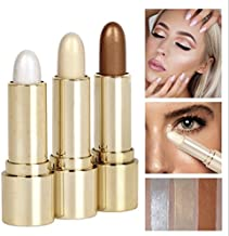 Cosmetic 3 Colors Set Long-Lasting Makeup Metallic Shimmer Eyeshadow Highlighter Glow Brightener Shimmer-Silver, Rose, Golden Stick