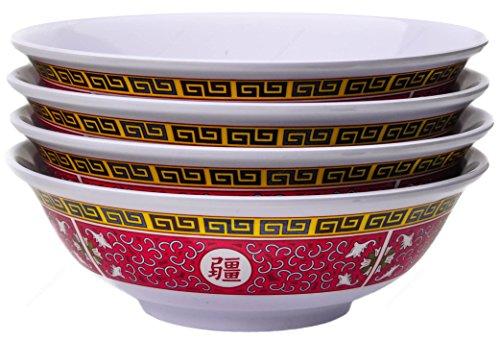 Melamine Oriental Pho Noodle Soup Bowl, 52 Ounce, Longevity Design, Set of 4