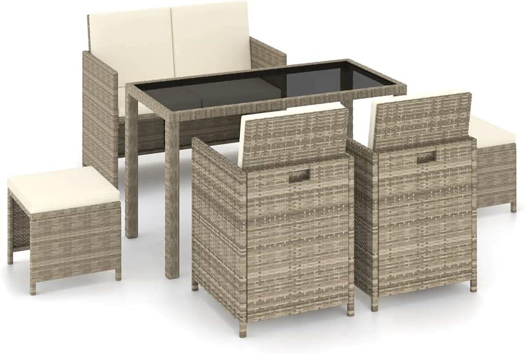 vidaXL Set Comedor de Jardín 6 Piezas y Cojines Muebles Mobiliario Exterior Terraza Balcón Cocina Mesa Silla Asiento Estable Ratán Sintético Beige