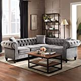 P PURLOVE Chesterfield Sectional Sofa,Tufted Velvet Sectional Sofa,Velvet Sofa with Upholstered Rolled Arm for Living Room,3 Pillows Included