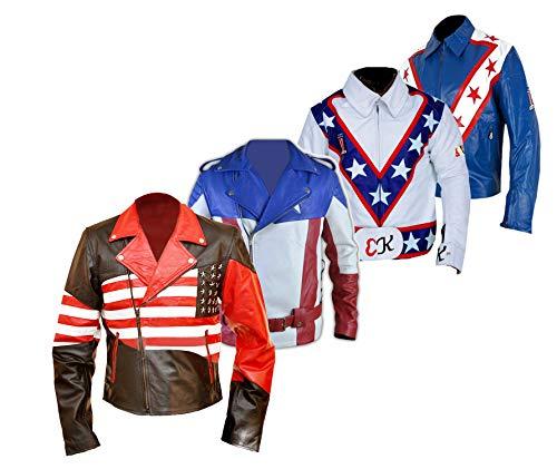 Dunhill Leather Vereinigte Staaten von Amerika USA Flagge Biker Lederjacke-5xl