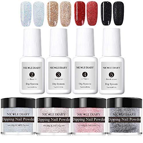 NICOLE DIARY Système de poudre de trempage Dip Glitter Kit de débutant pour les ongles Acrylique Poudre de sable Conseils français Nail Decoration Supplies Lampe UV/LED