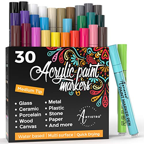 Acrylic Paint Pens – 30 Acrylic Paint Markers Medium Tip (2mm) - Great for Rock Painting, Wood, Fabric, Card, Paper, Photo Album, Ceramic & Glass - 28 Colors + Extra Black & White Paint Marker Set Photo #1