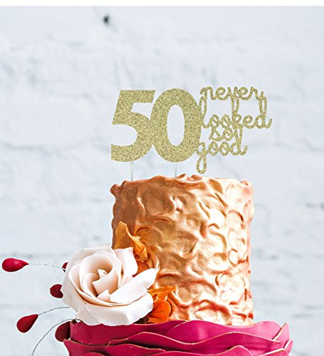 LissieLou gâteau d'anniversaire 50 Ans – 50 n'a jamais été Aussi Bon gâteau, Glittery Gold, 18cm Wide x 9.7cm High (7in x 3.7in)