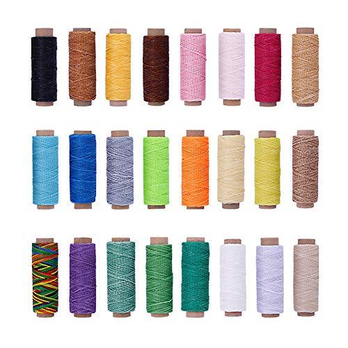 Hilo encerado 150D 50m/164ft, 24 colores/juego, cordón de hilo encerado para coser cuero para coser a mano
