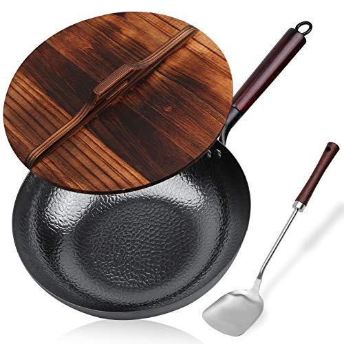 Carbon Steel Wok, Stir Fry Pan Flat Bottom Pan, Iron Carbon Steel Wok with Lid, 12.5 inch