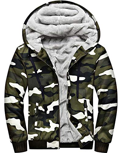 MACHLAB Men's Pullover Winter Workout Fleece Hoodie Jackets Full Zip Wool Warm Thick Coats Army Green#W919 XL