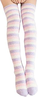 Tammy Yerke, Calcetines largos por encima de la rodilla a rayas para mujer Medias de lana de coral Mullidas suaves y gruesas Leggings altos Calentadores de piernas