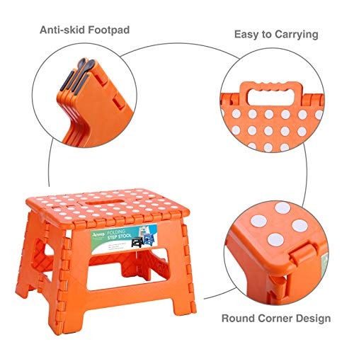 ACSTEP ACKO Folding Step Stool Lightweight Plastic Step Stool,9 inch Foldable Step Stool for Kids,Non Slip Folding Stools for Kitchen Bathroom Bedroom (Orange)
