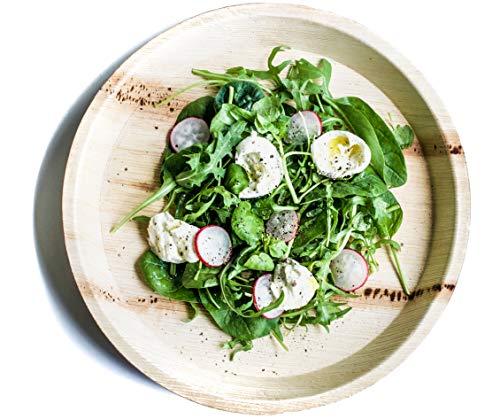 DISPOSABLE GREEN | 27 CM ROND| Lot de 10 assiettes, respectueux de l'environnement Assiettes jetables fabriqués à partir de Palm Leafs - 27 cm rond, solide, élégant