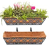 2pcs 24 Inch Window Deck with Coco Liner, Y&M 24' Window Boxes Horse Trough with Coconut Coir Liner, Black Metal Hanging Flower Planter Window Basket Deck Railing Planter Boxes for Outdoor Indoor Lawn