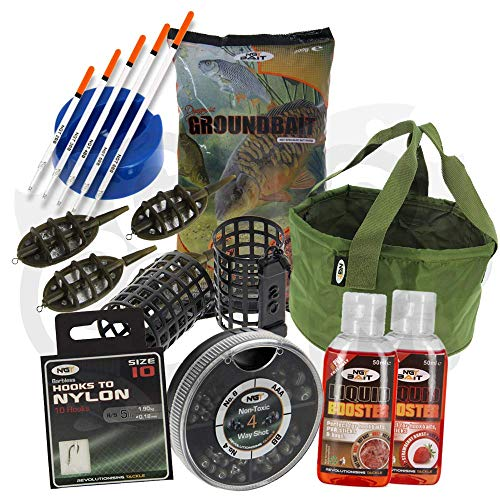 NGT Carp Match Fishing Ground Bait Tackle Set With Glugs Hooks Feeders Floats Groundbait And More