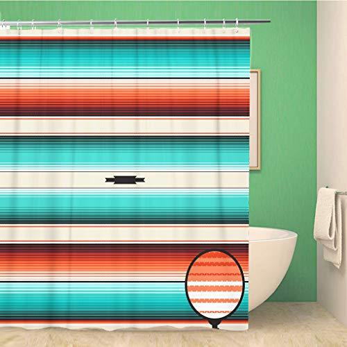 Awowee Decor douchegordijn Turkoois Oranje Navajo Wit Strepen Patroon Mexicaanse Serape draden 180x180cm Polyester Stof Waterdichte Bad Gordijnen Set met haken voor de badkamer