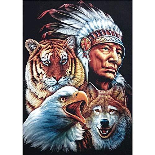 MXJSUA DIY 5D Diamant Malerei Volle Runde Bohrer Kits Strass Bild Kunst Handwerk für Hauptwanddekor 30x40 cm Indianer Adler Tiger Wolf