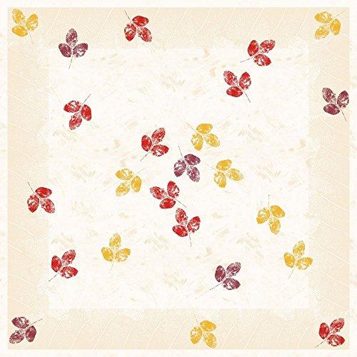 Sovie Home Tischdecke Jola | Linclass® Airlaid 80x80cm | Mitteldecke stoffähnlich praktisch | edle Tischdeko Herbst herbstlich Spätsommer | Creme mit Blättern