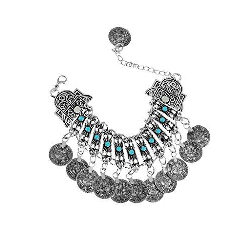 Bonarty Anklet Boho Silver Ethnic Bohemian Dance Tribal Folk Tassle Coin Bracelet