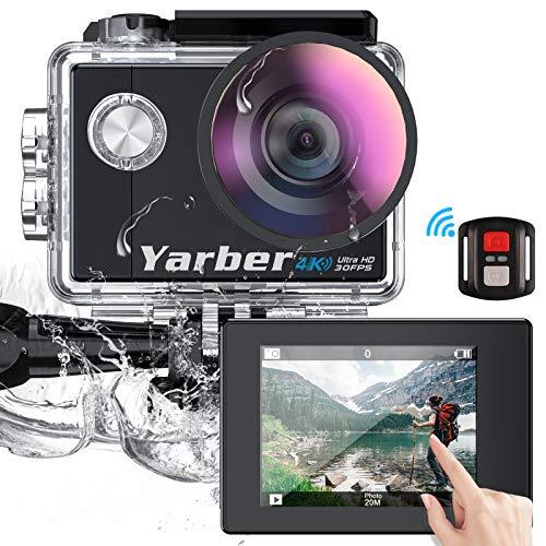 """Yarber AR02 Ultra 4K/30fps 20MP Action Cam WiFi Action Kamera mit 2\"""" Touchscreen, Bildstabilisierung, 40M Unterwasserkamera mit Fernbedienung,170°Weitwinkel, 2 wiederaufladbare Akku,viel Zubehör"""