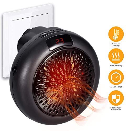 NBWS Keramische elektrische heater, voor stopcontacten, met thermostaat en timer, 1000 W, Quick Hand verwarming voor badkamer, kinderkamer, slaapkamer, kantoor