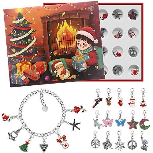 Charm Armband Adventskalender, Charms DIY Halskette Armband Set für Kinder, niedlichen Charme, Modeschmuck für Weihnachten(Rot)