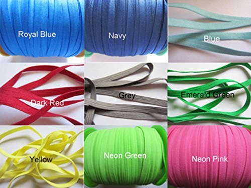 YYCRAFT Pack Of 20y 1/4' (6mm) Skinny Elastic Spandex Band Kid Dress Hairband Hair Tie Headband Lace Trim Sewing Notion (Mix Colors)