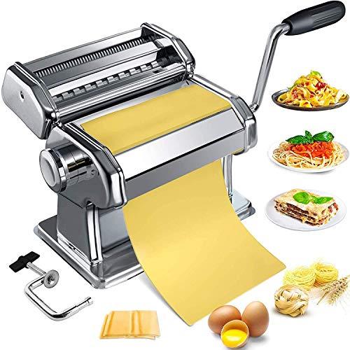 Máquina para Hacer Pasta, Maquina Pasta Manual de Acero Inoxidable con Ajustes de Grosor Ajustable Cortadora de Pasta Resistente para Espaguetis Caseros, Fettuccini, Lasaña o Pieles de Bola de Masa