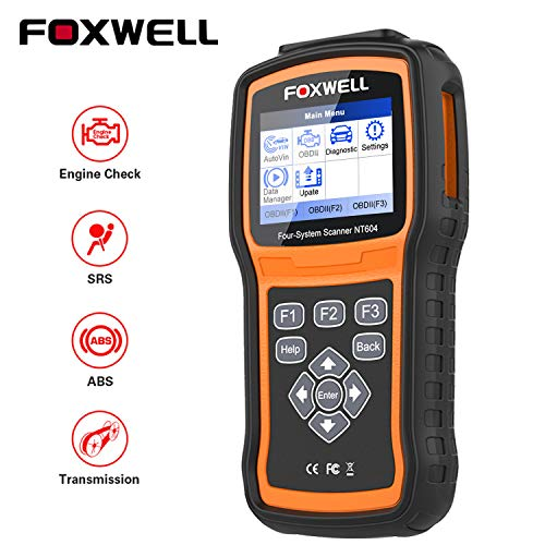 FOXWELL OBD2 Scanner NT604 Code Reader Check Engine ABS SRS Transmission [2020 New Arival] ABS Automotive Scan Tool Air Bag SRS Scanner Car Diagnostic Tool for All Vehicles Turn Off Check Engine Light