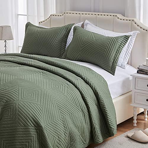 SunStyle Home Quilt Set 3 Pieces King Quilt Set Olive Green Soft Microfiber Bedspreads King Size Lightweight Coverlet Reversible Comforter Set Bed Cover for All Season(1 Quilt 2 Shams)