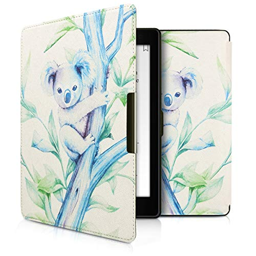 kwmobile Custodia compatibile con Kobo Aura ONE - Cover in simil pelle magnetica Flip Case per eReader blu/viola/bianco