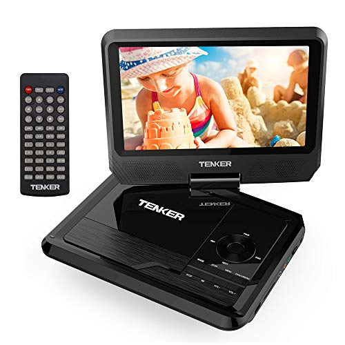 "TENKER 9.5"" Portable DVD Player with Swivel Screen, Rechargeable Battery and SD Card Slot & USB Port, Black"