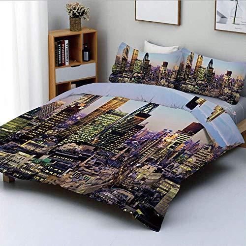 Juego de funda nórdica, arquitectura moderna del centro de Londres, centro de finanzas globales, famosa ciudad capital, juego de cama decorativo de 3 piezas con 2 fundas de almohada, multicolor, el me