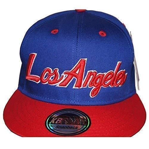 KB Ethos London, Los Angeles Casquette, Rétro Vintage Plate, Chapeau LND, la Ajusté Hip Hop Bling Unisexe Baseball - Losangeles Royal/Rouge, Taille Un