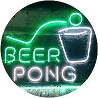 Beer Pong Bar Game Pub Dual Color LED看板 ネオンプレート サイン 標識 白色 + 緑色 400 x 300mm st6s43-i3495-wg