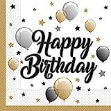 Procos 88863 - Tovaglioli di carta Milestone Happy Birthday, 20 pezzi, dimensioni 33 x 33 cm, decorazione da tavolo, foulard, compleanni, palloncini, palloncini