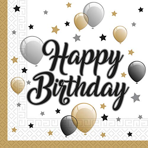 Procos 88863 - Servietten Milestone Happy Birthday, 20 Stück, Größe 33 x 33 cm, Papierservietten mit Motiv, Tischdekoration, Mundtuch, Geburtstag, Luftballons, Ballons