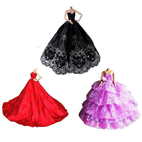 Mobby Precioso Vestido de Novia Hecho a Mano de Moda Vestido de Boda Conjunto para muñecas Barbie, 3 Piezas de Princesa Ropa Perfecto para el Regalo de Las niñas (A Style)